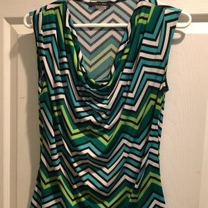 Multi colored sleeveless cowl neck top
